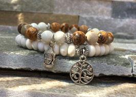 Lebensbaum Buddha Armband Set - Jaspis Magnesit (Set44)