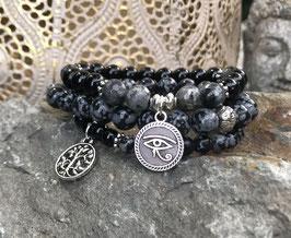 Horusauge Lebensbaum Lotus Armband Set - Onyx Larvikit Obsidian (Set167)