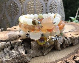 Libelle Achat Herz Blume Armband Set - Achat Jade (Set148)