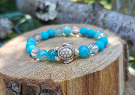 Schildkröte Armband - Achat Jade Bergkristall (T34)