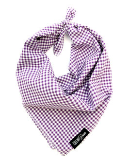 Purple Gingham Style Traditional Knotted Bandana-WHOLESALE