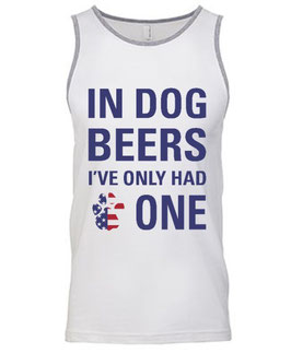 In Dog Beers Men's White & Grey Patriotic Tank