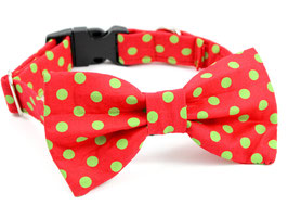 Polka Doo Red with Green Dots Collar & Bow Tie