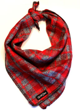 Scarlet & Grey Plaid Traditional Knotted Bandana-WHOLESALE