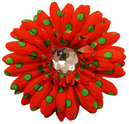 Merry Chrismutt Large Flower Red with Green Polka Dots