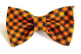 Orange & Black Plaid Check Bow Tie