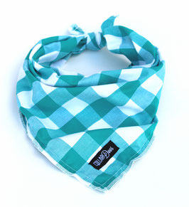 Check One Two Teal Knotted Bandana