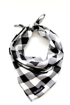 Check One Two Black & White Knotted Bandana-WHOLESALE