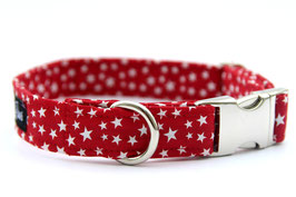 Pawtriotic Red with White Stars Silver Chrome Collar