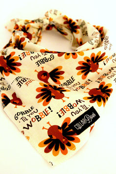 Thanksgiving Gobble Til You Wobble White Traditional Knotted Bandana