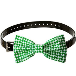 Hound's Tooth Green Bow Tie