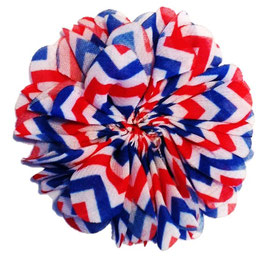 Barko Polo Red, White & Blue Chevron Flower