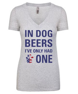 In Dog Beers Patriotic T-Shirt Women's Heather White V-Neck