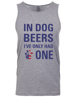 In Dog Beers Men's Grey Patriotic Tank