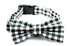 Gingham Style Black and White Collar