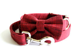 Barnwood Bow Tie + Chrome Collar + Leash Set