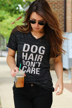 Dog Hair Don't Care T-Shirt Unisex V-neck Charcoal Marble