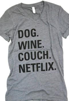 New! Netflix T-Shirt Unisex V-neck Heather Grey