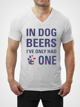 IN DOG BEERS PATRIOTIC T-Shirt Unisex Heather White V-Neck