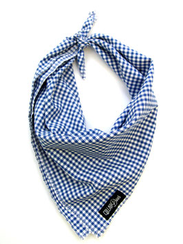 Navy Gingham Style Traditional Knotted Bandana