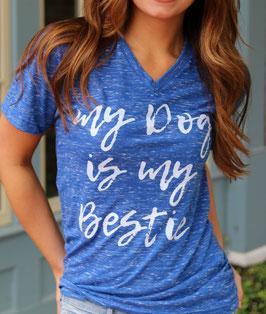 Bestie Royal Blue Marble T-shirt V-neck