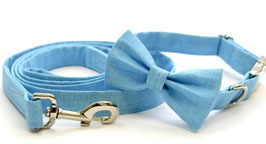 Sky Bow Tie + Chrome Collar + Leash Set