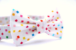 Confetti White Bow Tie + Chrome Collar