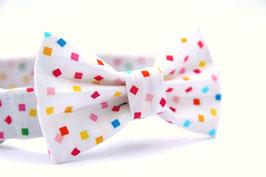 Confetti White Bow Tie + Collar