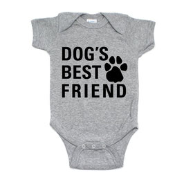 Dog's Best Friend Grey Short Sleeve Onesie