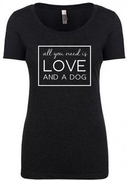 LOVE Women's T-Shirt Vintage Black Crew Neck
