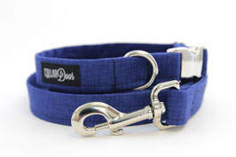 Midnight Blue Bow Tie + Chrome Collar + Leash Set
