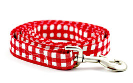 Gingham Style Red & White Leash WHOLESALE
