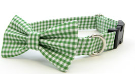 Gingham Style Green Bow Tie & Collar Set