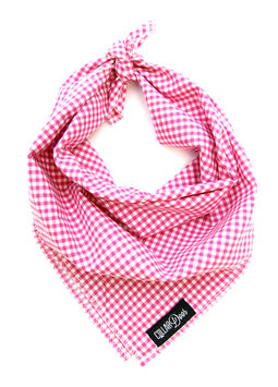 Pink Gingham Style Traditional Knotted Bandana-WHOLESALE