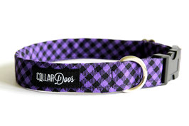 Purple & Black Plaid Check Collar