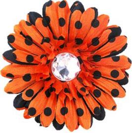 Howl O'ween Orange & Black Dot Flower