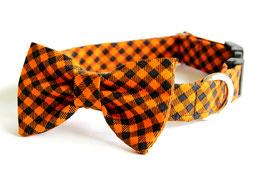 Orange & Black Plaid Check Collar