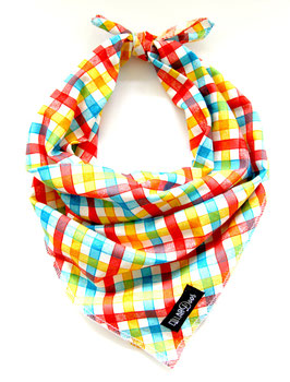 Mad for Plaid Blue, Orange & Red Knotted Bandana-WHOLESALE