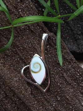 Anhänger Shiva Auge (Operculum) gefasst in 925 Sterlingsilber AH 067