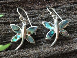 Abalone Ohrringe, Schmetterling, gefasst in 925 Sterlingsilber OR 062