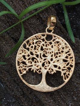 'Baum des Lebens' Anhänger, Rose vergoldet, 925 Sterlingsilber AHS 063