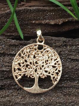 'Lebensbaum' Anhänger, Rose vergoldet, 925 Sterlingsilber AHS 074