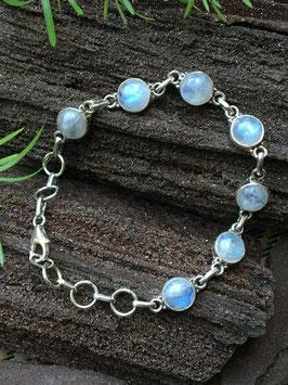 Armband Regenbogen Mondstein, 925 Sterling Silber, AB 028