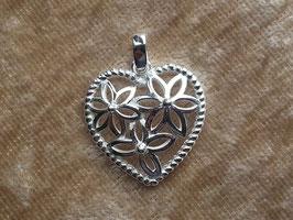 Herz Anhänger mit Blümchen aus 925 Silber AHS 001