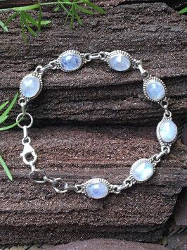 Regenbogen Mondstein Armband, 925 Sterlingsilber, AB 030