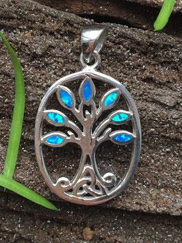 Anhänger Opal (Synthetisch), Lebensbaum, gefasst 925 Sterlingsilber AH 056