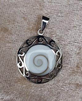 Anhänger Shiva Auge (Operculum) gefasst in 925 Sterlingsilber AH 036