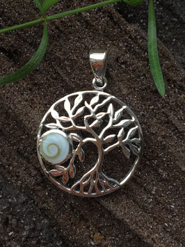 Anhänger 'Lebensbaum' Shiva Auge, gefasst in 925 Sterlingsilber AH 069