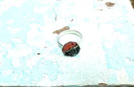 Ring geteilt orange/rot dunkel Marmor rund