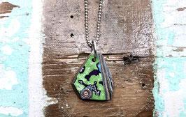 Kette eckig grün/schwarz/lila Marmor mit Auge
